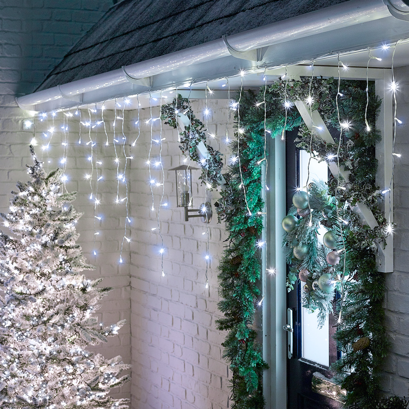 360 Led Snowing Icicle Lights White, Gas Lit Outdoor Lights