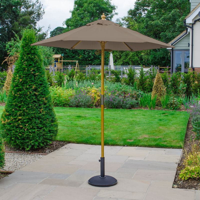 Dominica 2m Pulley Operated Round Wooden Parasol