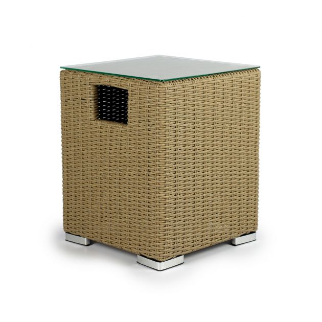 Heritage Square Rattan Gas Tank Cover - Willow