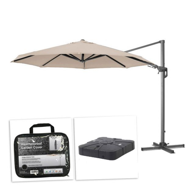 Genesis 3.5m Round Cantilever Parasol with 100L Sand & Water Fillable Base & Cover - Beige