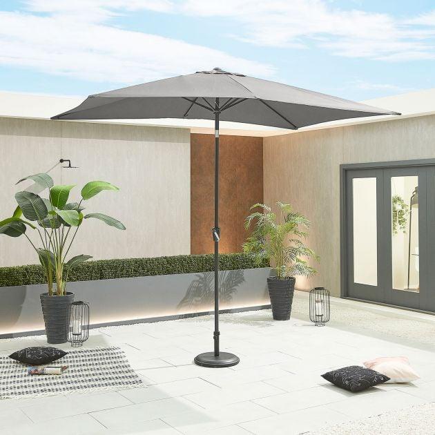 Antigua 3m x 2m Rectangular Aluminium Parasol - Crank & Tilt - Grey