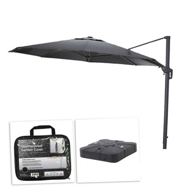 Galaxy 3.5m Round Cantilever Parasol with 100L Sand & Water Fillable Base & Cover - Grey