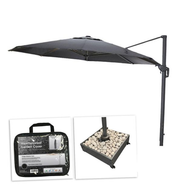 Galaxy 3.5m Round Cantilever Parasol with Stone Fillable Base & Cover - Grey
