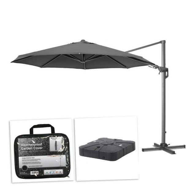 Genesis 3.5m Round Cantilever Parasol with 100L Sand & Water Fillable Base & Cover - Grey