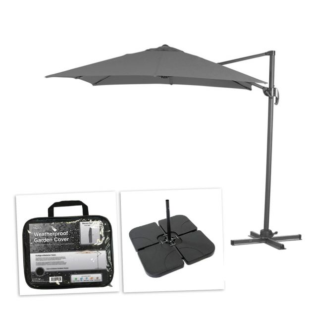 Apollo 3m x 2m Rectangular Cantilever Parasol with Square Base Slabs & Cover - Grey