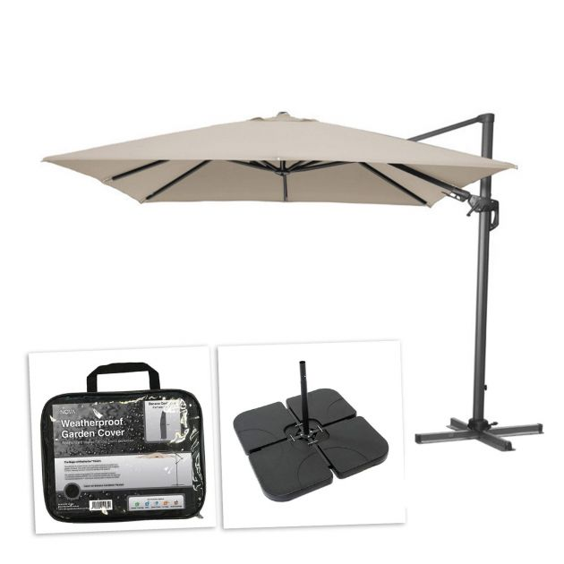 Genesis 3m Square Cantilever Parasol with Square Base Slabs & Cover - Beige