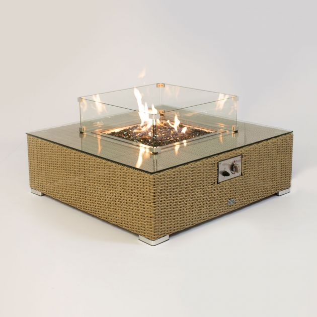 Heritage Chelsea 1m Square Firepit Coffee Table - Willow