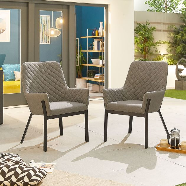 Pair of Genoa Outdoor Fabric Dining Chairs - Light Grey