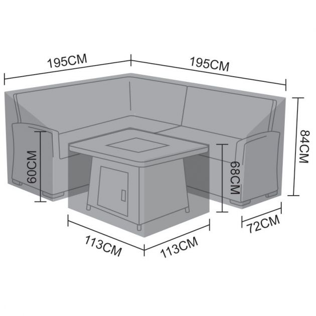Cover Pack for L-Shaped Compact Cambridge Corner Dining Set with Rising & Firepit Tables