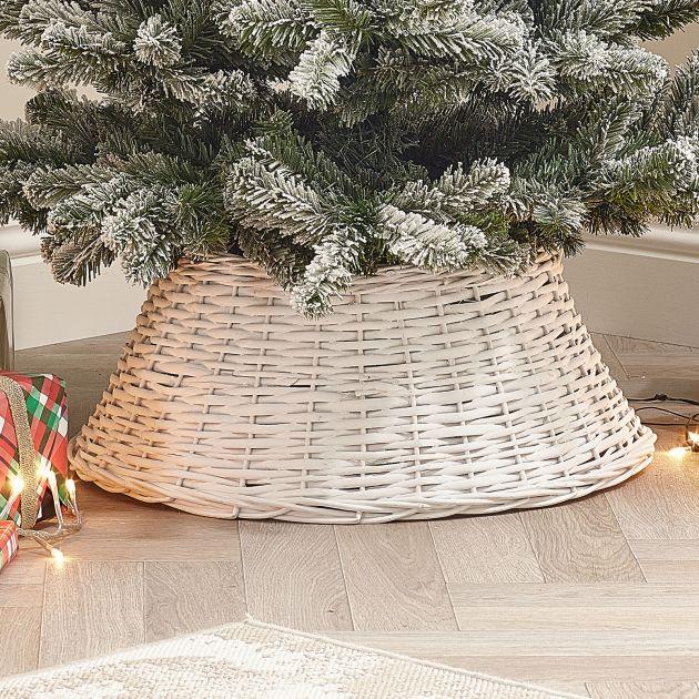 60cm Willow Christmas Tree Skirt Ring - White