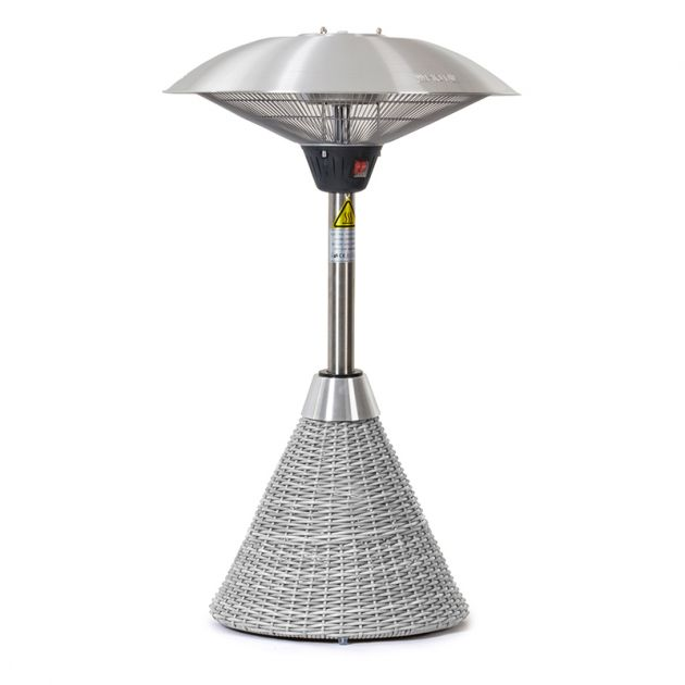 Nova - 2.1kW Table Top Electric Patio Heater with Rattan Base - White Wash