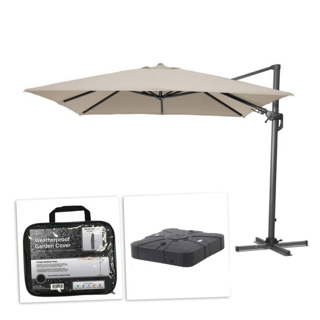 Genesis 3m x 2.5m Rectangular Cantilever Parasol with 100L Sand & Water Fillable Base & Cover - Beige