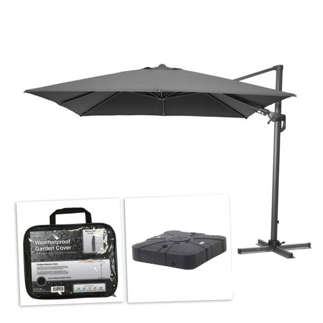 Genesis 3m x 2.5m Rectangular Cantilever Parasol with 100L Sand & Water Fillable Base & Cover - Grey