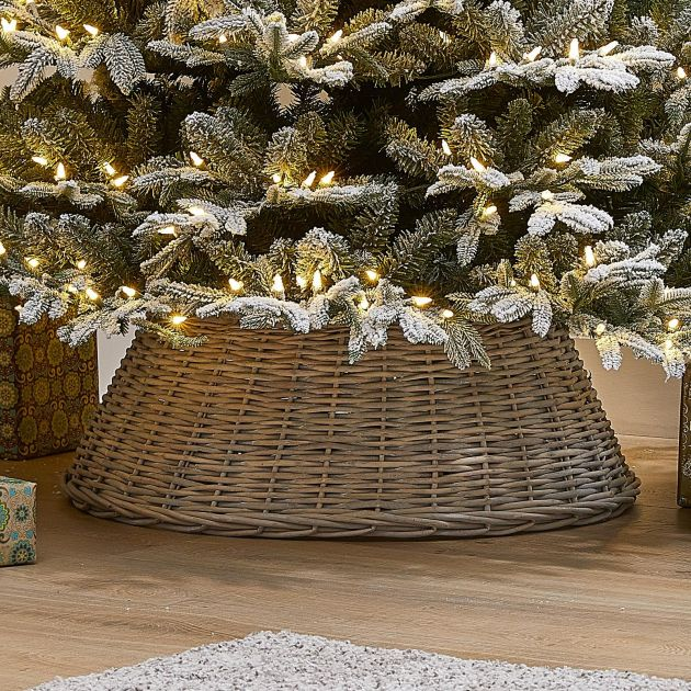 60cm Willow Christmas Tree Skirt Ring - Grey