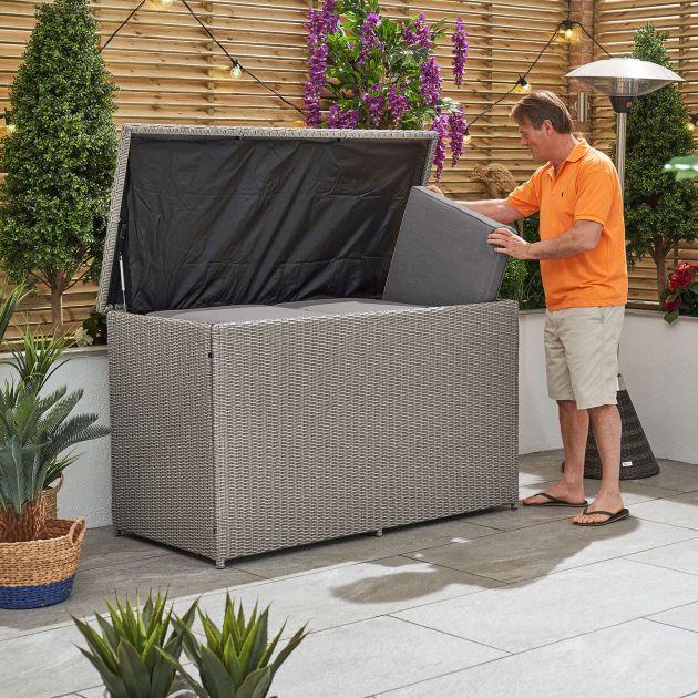Heritage Large Cushion Storage Box - White Wash