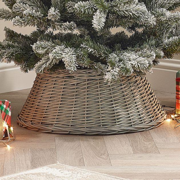 60cm Willow Christmas Tree Skirt Skirt - Grey