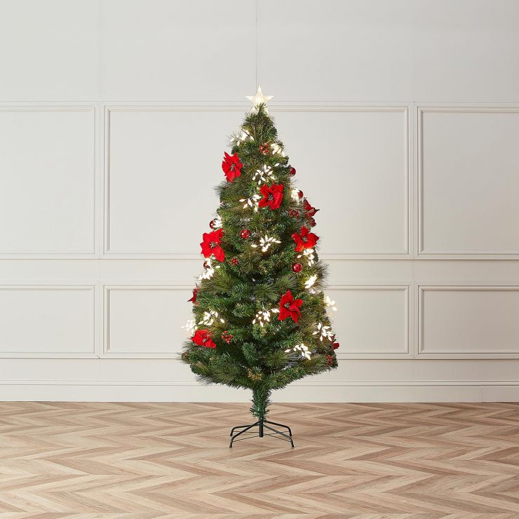 5ft Fibre Optic Poinsettia Artificial Christmas Tree