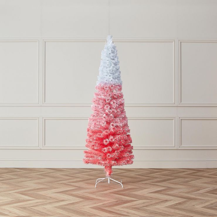 5ft Fibre Optic Eclipse Pink & White Artificial Christmas Tree