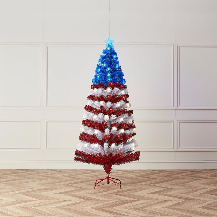 5ft Fibre Optic Stars & Stripes Artificial Christmas Tree