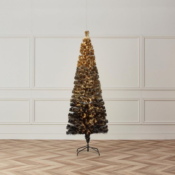 5ft Fibre Optic Eclipse Black & Gold Artificial Christmas Tree