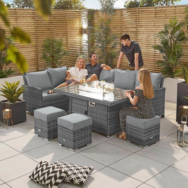 Cambridge Left Hand Casual Dining Corner Sofa Set with Firepit Table - Grey