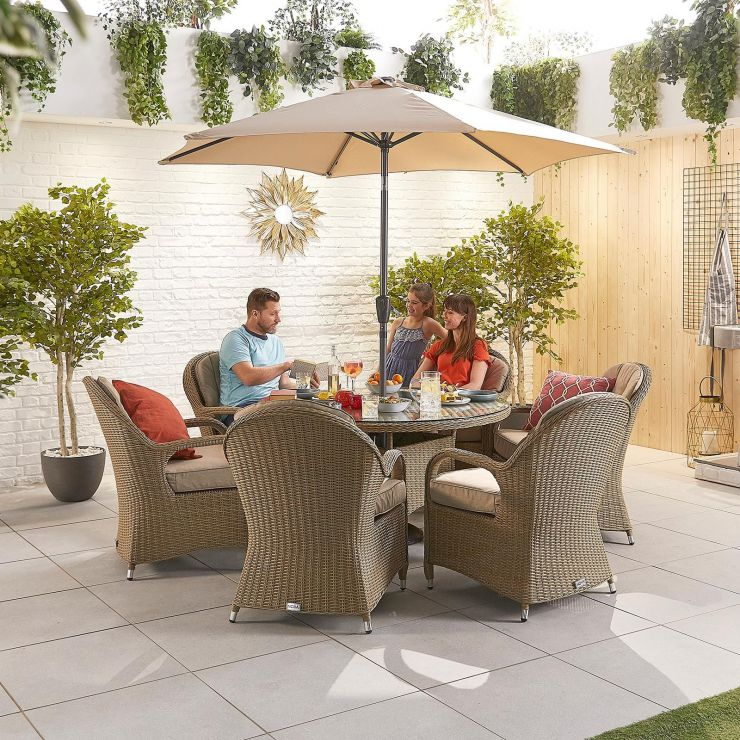 Leeanna 6 Seat Dining Set - 1.35m Round Table - Willow