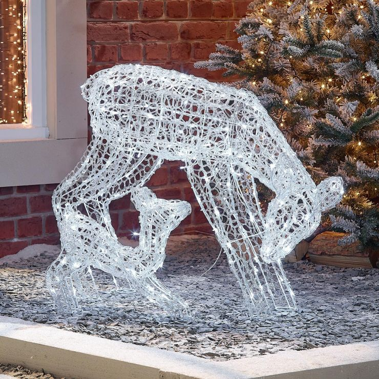 The Roscoe Mother & Baby - 70cm Soft Acrylic Christmas Reindeer