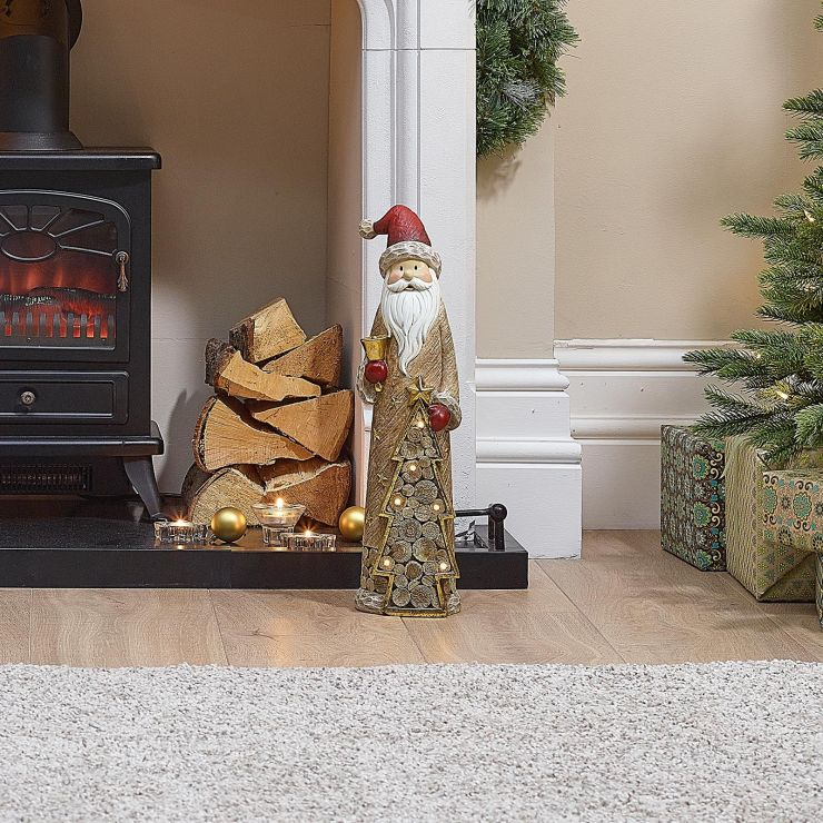 Santa the 53cm Father Christmas with LED Gold Tree