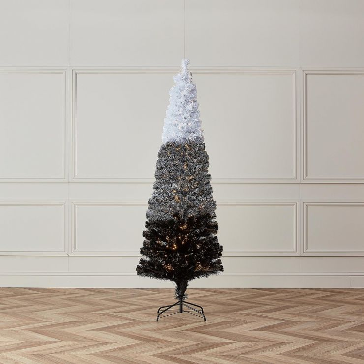 5ft Fibre Optic Eclipse Black & White Artificial Christmas Tree