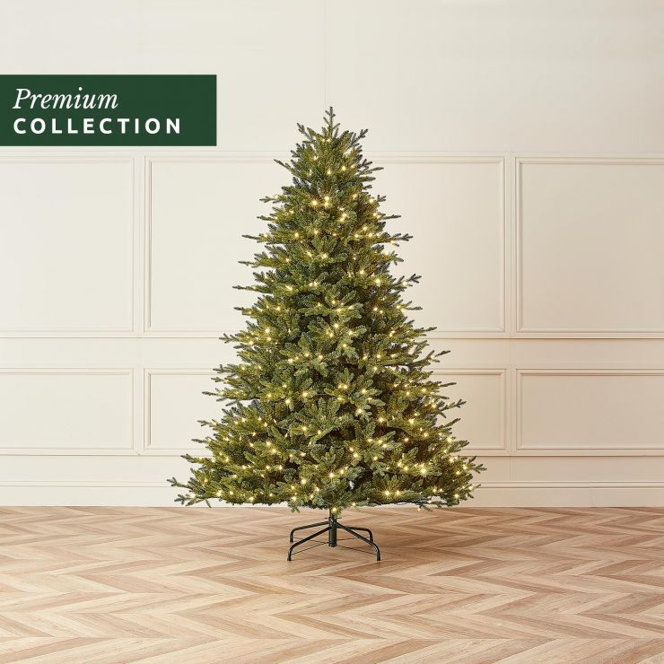 7.5ft Pre-Lit Serbian Spruce Artificial Christmas Tree