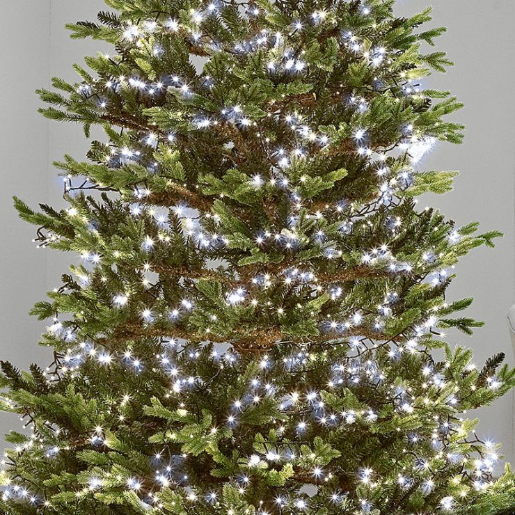 1000 Cool White LED Compact Cluster Christmas Tree Lights (25m Lit Length)