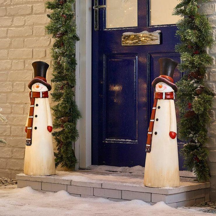 Pair of 69cm Mr Snow Christmas Snowman Figures
