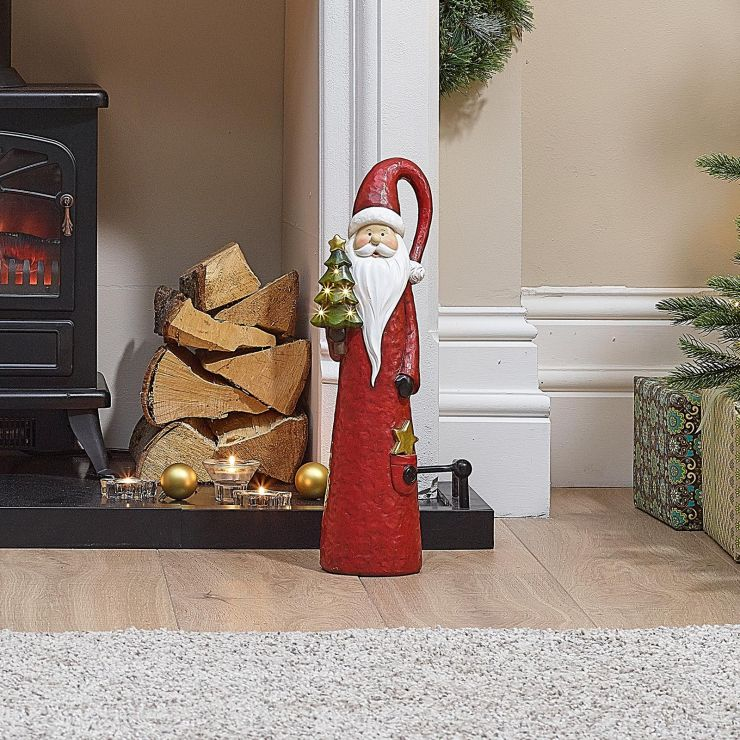 Father Christmas the 51cm Red Santa with LED Christmas Tree