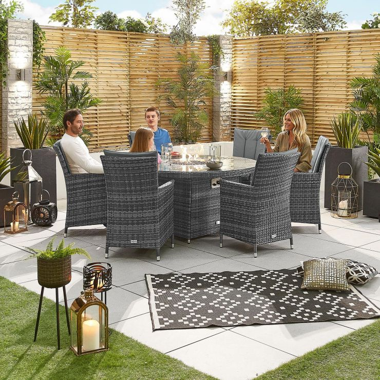 Sienna 6 Seat Dining Set - 1.5m Round Firepit Table - Grey