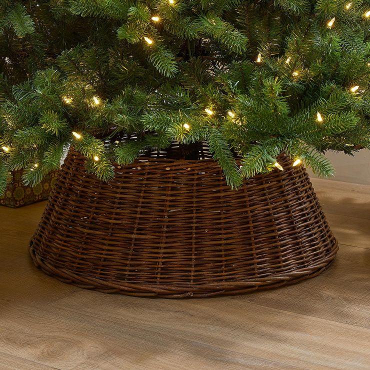 70cm Willow Christmas Tree Skirt Ring - Brown