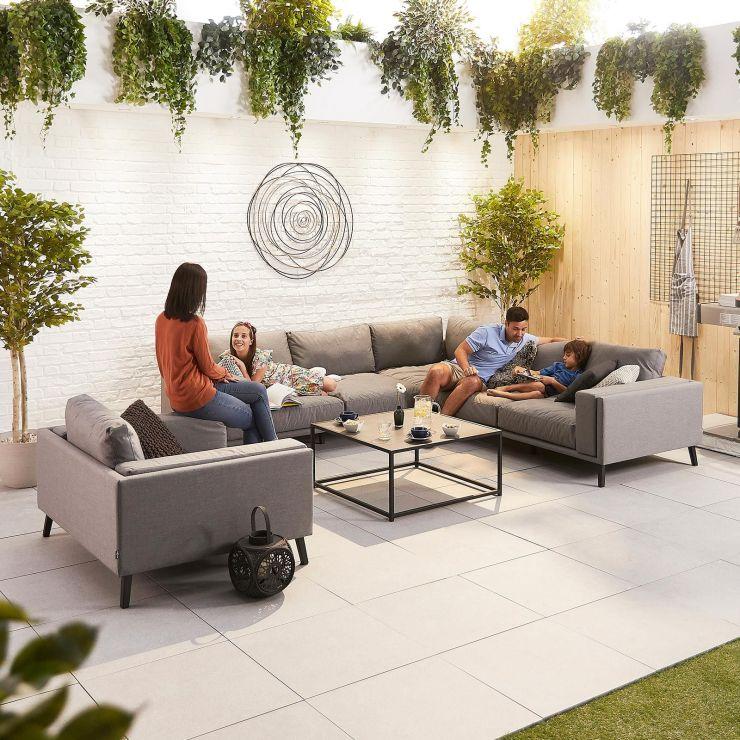 Infinity Outdoor Fabric Corner Sofa Set with 1 Armchair - Light Grey