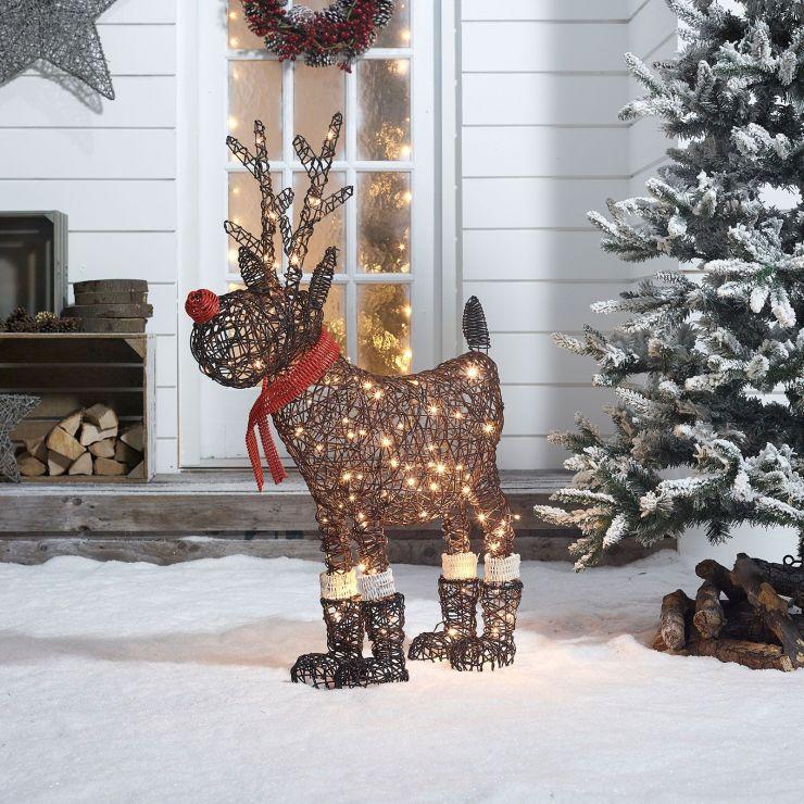Rudolph the 100cm Brown Rattan Christmas Reindeer