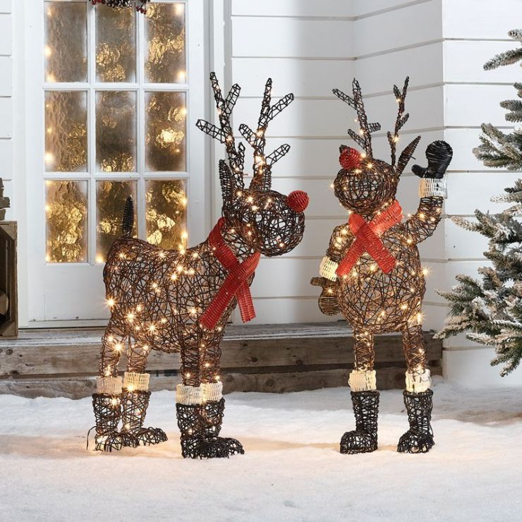 The Rudolph Duo - 100cm Rattan Christmas Reindeer