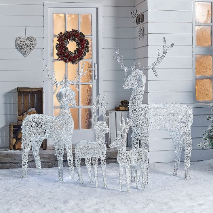 The Large Ralph Family - 180cm 150cm 100cm & 80cm White Rattan Christmas Reindeer