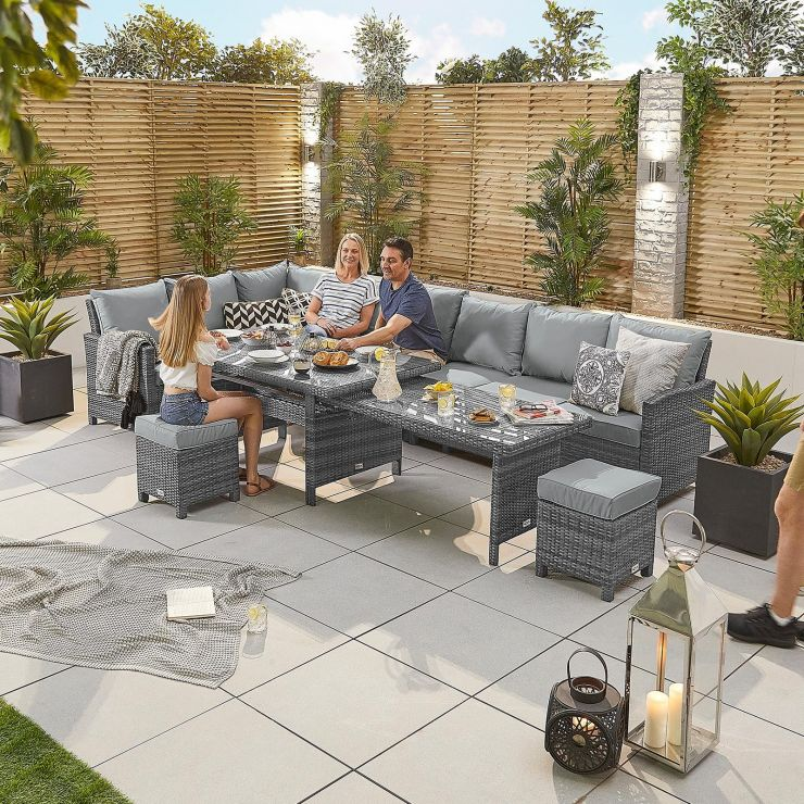 Extending Cambridge Left Hand Casual Dining Corner Sofa Set - Grey