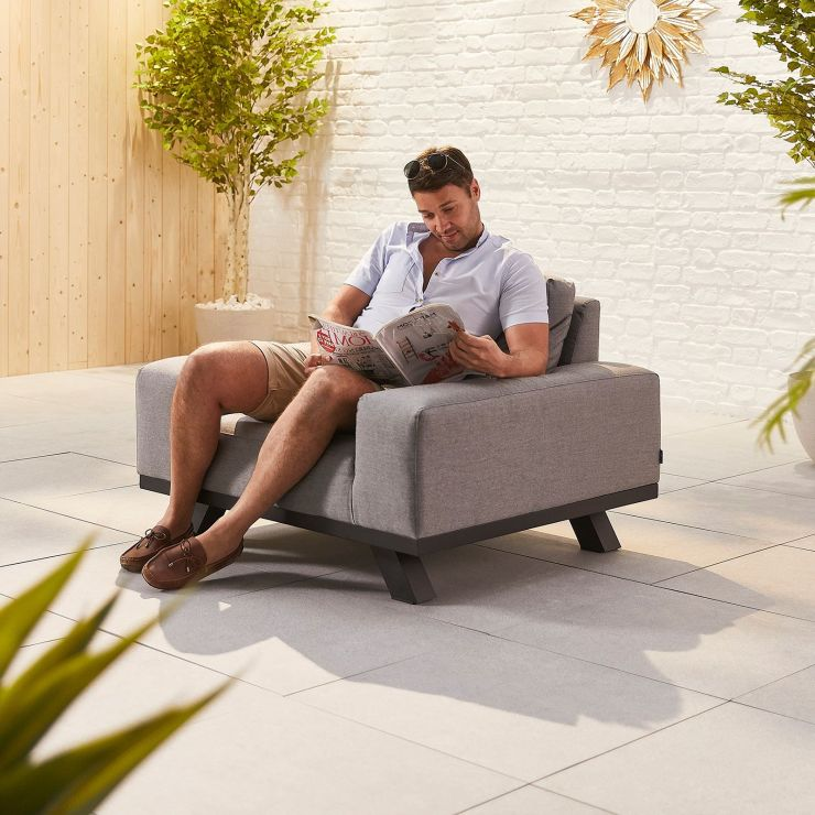 Tranquility Outdoor Fabric Lounge Armchair - Light Grey