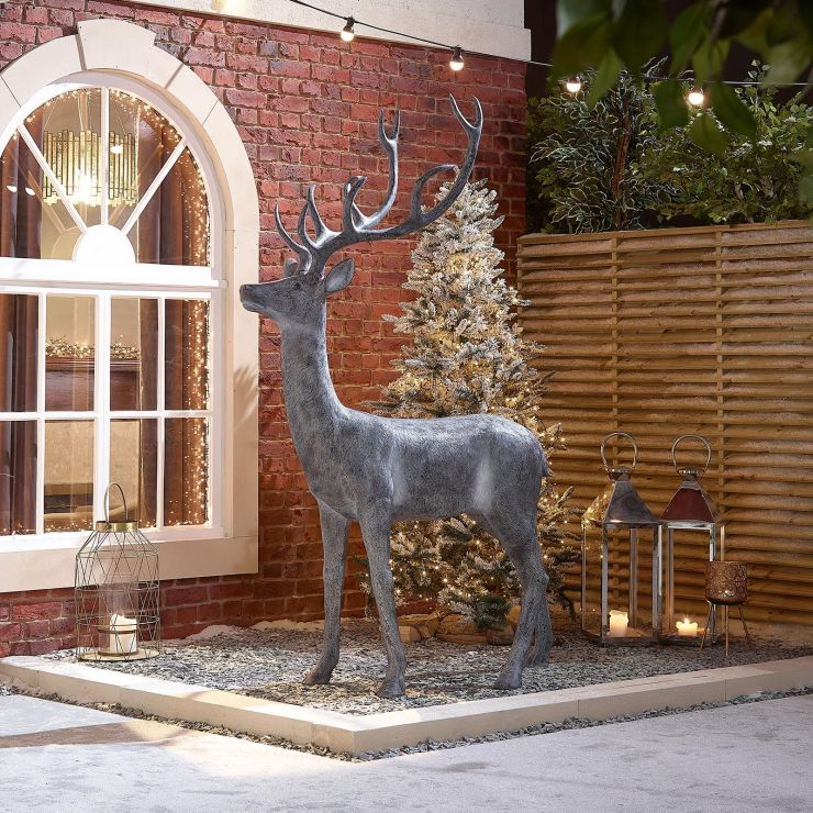 Promise the 213cm Grey Proud Standing Christmas Reindeer