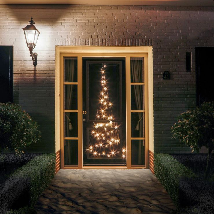 Fairybell 2m 60 Warm White Twinkle LED Outdoor Door Christmas Tree