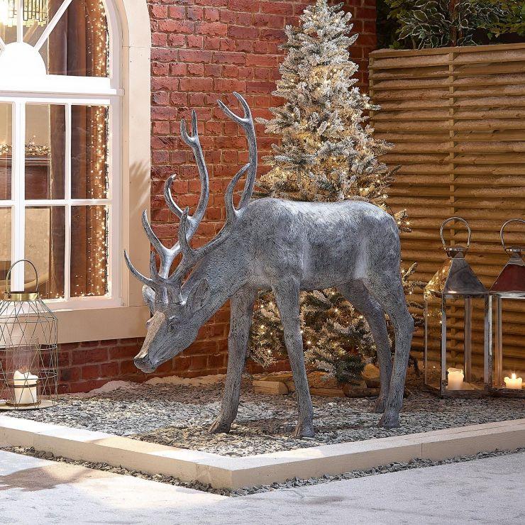 Precious the 161cm Grey Feeding Christmas Reindeer