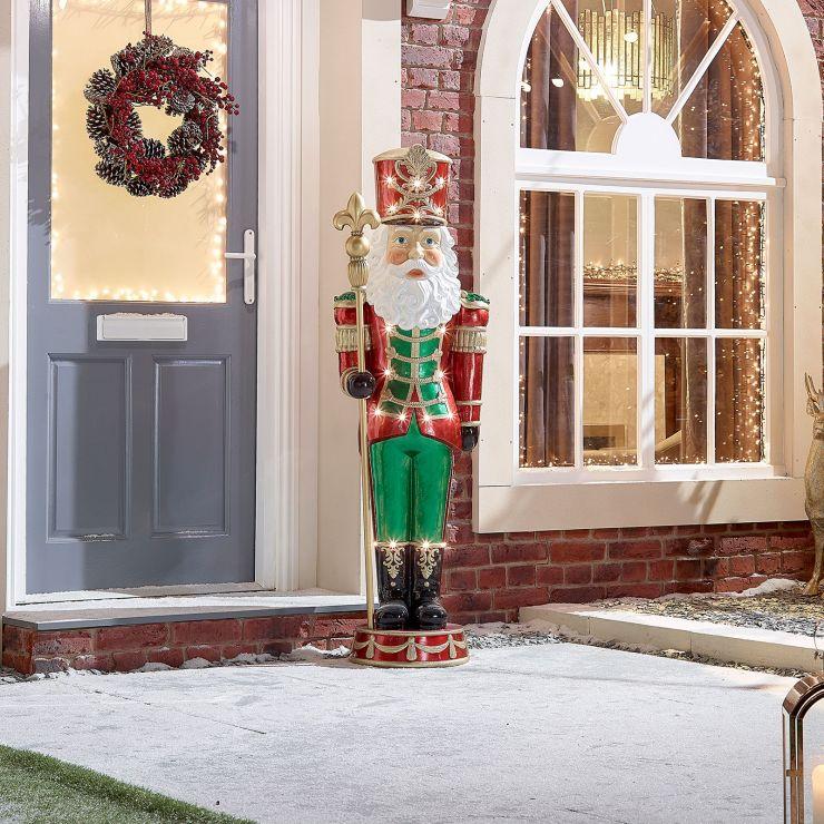 Nikolai the 5ft LED Santa Nutcracker - Warm White