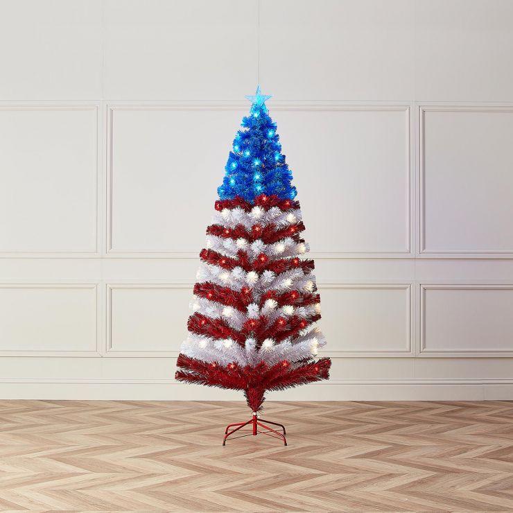 6ft Fibre Optic Stars & Stripes Artificial Christmas Tree