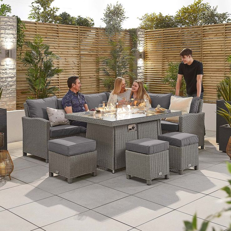 Ciara Right Hand Casual Dining Corner Sofa Set with Firepit Table - White Wash