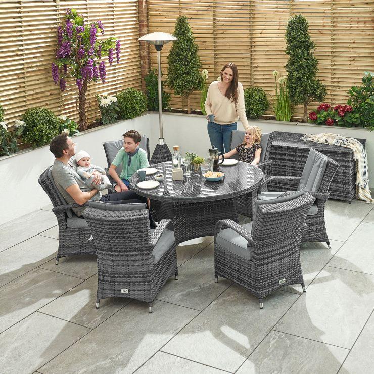 Olivia 6 Seat Dining Set - 1.3m Round Table - Grey