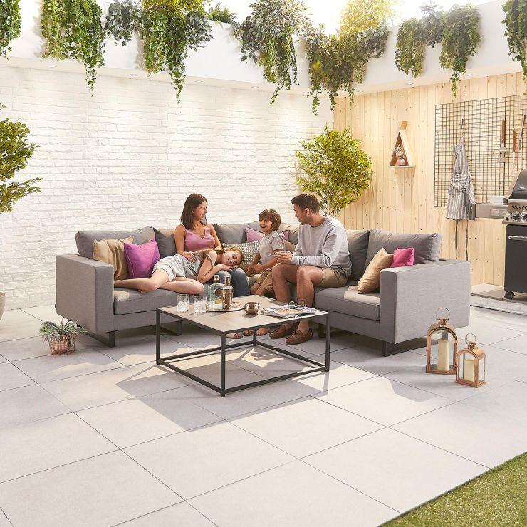 Eden Outdoor Fabric Corner Sofa Set - Light Grey