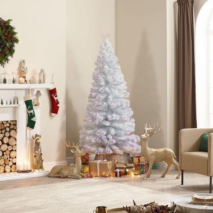 6ft Fibre Optic White & Pink Artificial Christmas Tree